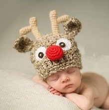 Crochet Deer Hats Cap Newborn photography props Baby Hats Photography Props Newborn Baby Minnie Animal Outfit Knitted(China (Mainland