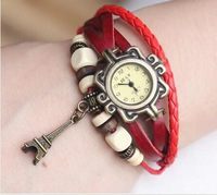 100pcs/lot 7 colors Vintage leather ladies watch with eiffel tower DHL Free Shipping