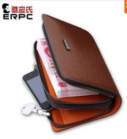2014 man bag male clutch cowhide business casual day clutch double zipper large capacity clutch bag male