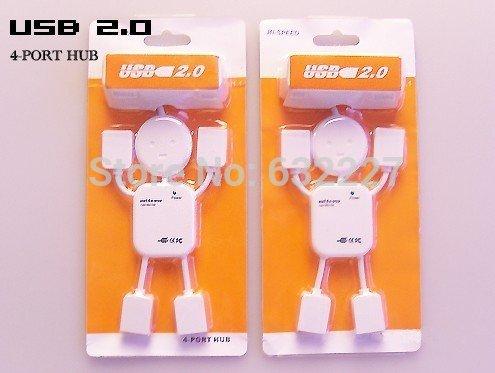 Freeshipping 4 port USB HUB white robot 10pcs/lot(China (Mainland))