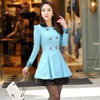 Free Shipping New Korean Slim Ladies Long Autumn Coat Windbreaker Women's Coats 2014