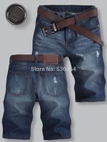 Hot Fashion Men Holey Torn Design Jeans Half Pants Blue Denim Shorts Trousers free shipping