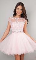 2014 Cute Short Prom Dresses Pink High Neck Beaded Applique See Through Cheap Junior Girls Graduation Dresses Party Dresses