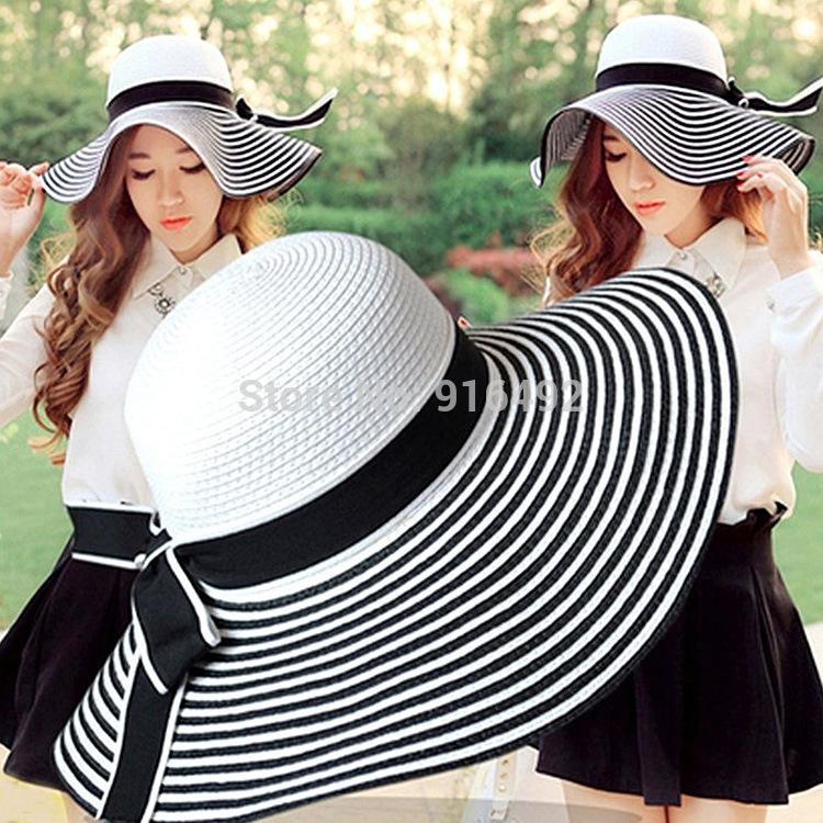 Ordinary Summer Hats For Women Part - 13: Folding Women Sun Hat Summer Wide Striped Hat UV Super Large Brimmed Hat  Women Beach Sun Hat