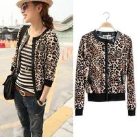 Free Shipping 2014 New Design Women's Cheap Long-sleeve Short Jacket Leopard Print Jackets PU Leather Coat Plus Size S-XXL