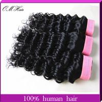 OM Hair: Hot Selling! Brazilian Deep Wave Virgin Hair 100g/pc 12''-28'' #1B Cheap Human Hair Weaves 3pcs/lot Fast Free Shipping