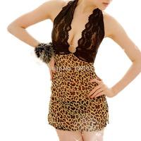 BeautyWill Women's Leopard Print Sheer Side Slit Badydoll