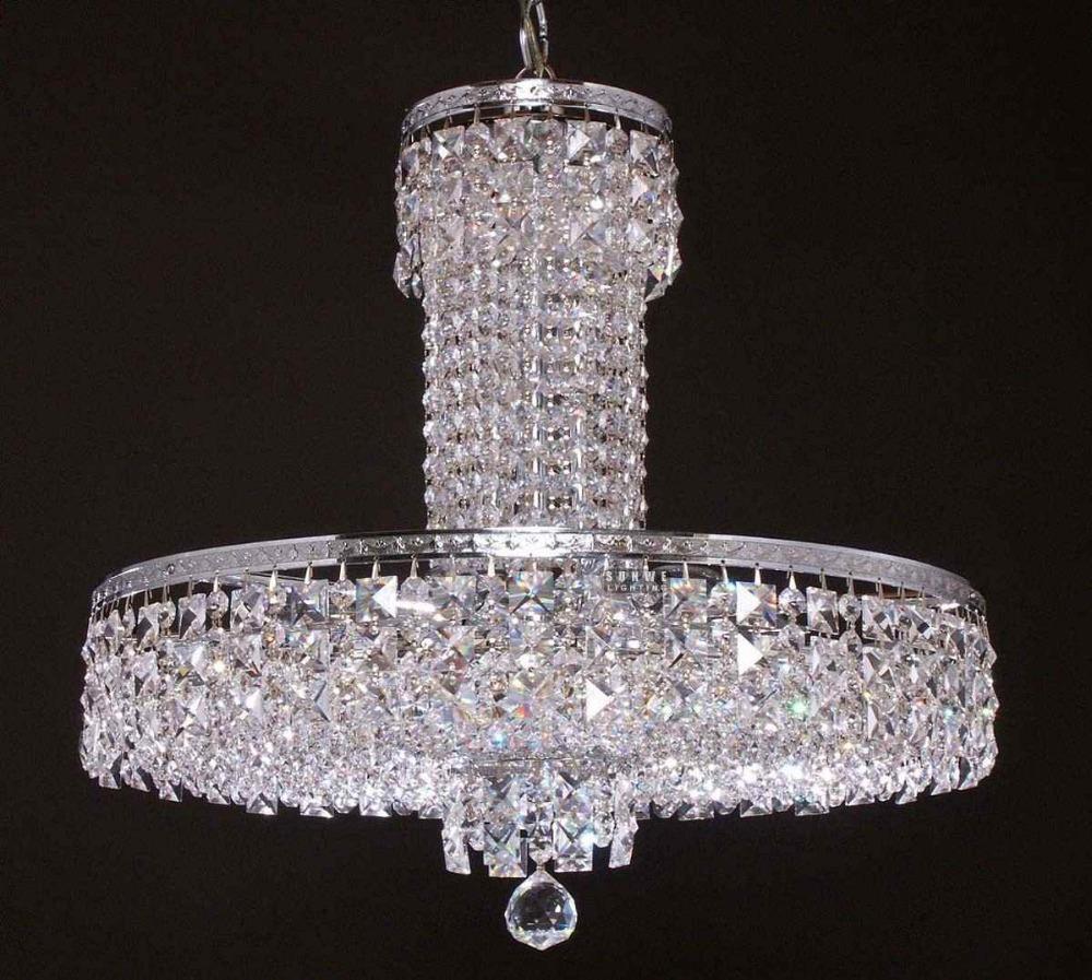 Chrome petite lustre en cristal, mini lustre luminaire chambre, métal lustre luminaire, a9015,50cm w x 40cm h