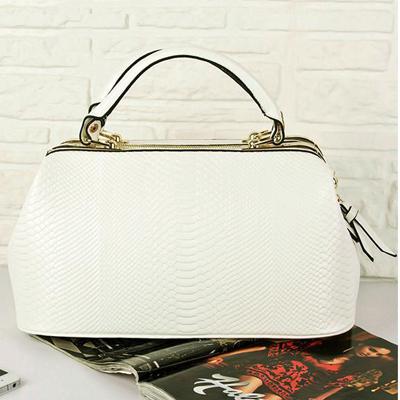 Fashionable White Leather Bag Satchel Double Handle Grace School Tote Bag Bowling Bag Shoulder Strap Bolsos De Moda(China (Mainland))
