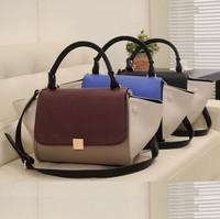 2014 New Arrival,Free Shipping,Elegant Women Splice Color Bat Bag,Fashion Tra Brand Bag,Have Logo,Big Size Smiley Bag, 6 Colors