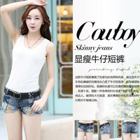 2014 placketing patchwork paillette sexy straight female shorts low-waist denim shorts