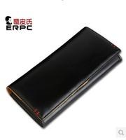 2014 fashion mens long design wallet genuine leather wallet casual color block cowhide wallet male