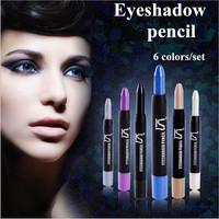 New 2014 Brand Makeup Eye Shadow Pencil 6 Colors / lot Waterproof Eyeliner Pencil Make Up Eyeshadow Cosmetics Pen Eyes