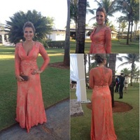 Free Shipping 2014 Luxury See Through Champagne Rhinestone Mermaid Evening Dress Prom Dress Tull