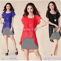 Black,Blue,Red L,XL,XXL,3XL,4XL! 2014 New summer set 2 big plus size women clothes suits dress striped casual chiffon lady tunic