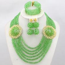 Fashion Nigerian Wedding African Jewelry Set Crystal Beads Necklace Set Women Costume Jewelry 18K Gold 2015