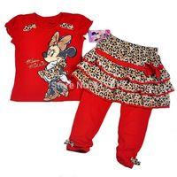 New 2014 Autumn brand girls clothing sets kids clothes sets minnie mouse 3pcs sets short sleeve t-shirts+lepoard skirts+leggings