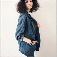 New 2014 Autumn Fashion Women Loose Batwing Sleeve Denim Jackets Outwear Jeans Coat Casual Jackets Women Jeans coats W058