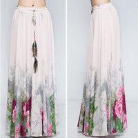 New 2014 summer fashion chiffion saia long floral skirts womens plus size ball gown skirts female saia brance skirt YSHY 1010