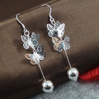 CLE087 / Butterfly Earring Silver 925 Plated Wholesale Price Free Shipping