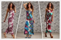 Sexy Halterneck Bubble Print Boho Maxi Sun Summer Long Dress Clubwear