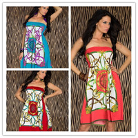 Fashion Vintage Paisley Strapless Hippie Boho Summer Beach Dress