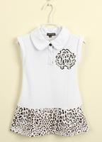 New Arrival 2014 Summer baby girl print dress brand children leopard dresses, designer Kids patchwork girls dress, 2-10Y