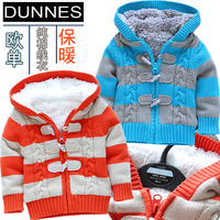 baby  winter sweater baby clothes cool stripe sweater paragraph berber fleece lining girls Warm winter jacket