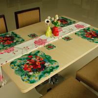 Novelty Households Placemat Rose Follower Pattern Table Mat Cup Mat  8pcs Sets Pad size 4L+4S sets