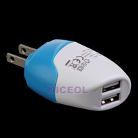 NI5L US Plug Dual USB Port Wall Charger Travel Adapter for iPhone Samsung MP3/4