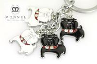 Z256b  Adorable Customized design White Black Bulldog Puppy Animal Dog Metal Keychain