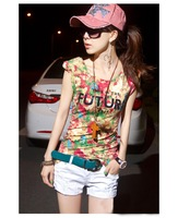 Free Size Personalized printing large dare blooming shoulder pads Slim stylish short-sleeve T-shirt