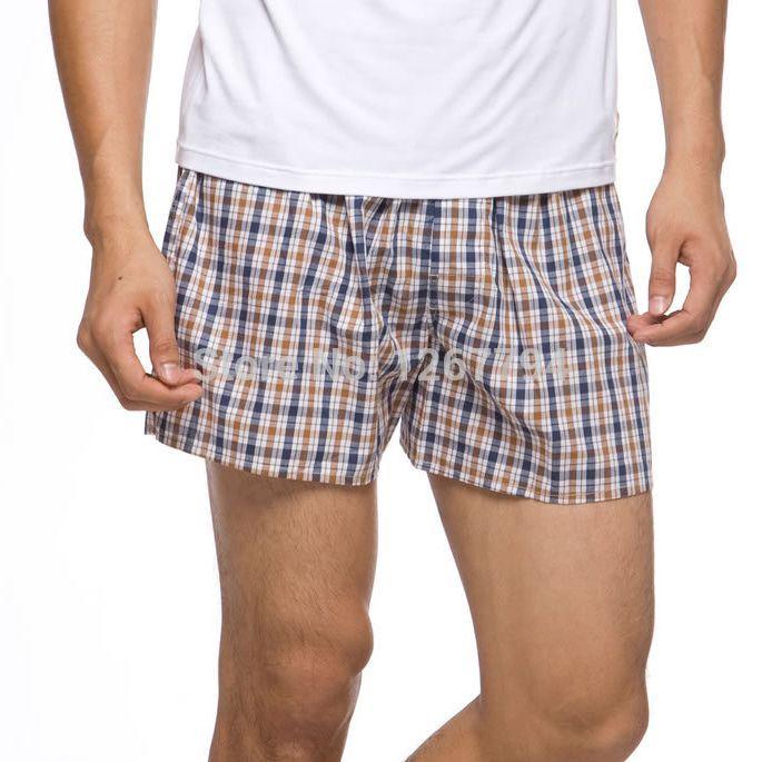 Rushed 2014 winter Cheep Cotton Underwear 5 Pcs/lot 100%cotton Men Boxers Shorts Plaid Loose Underpants(China (Mainland))
