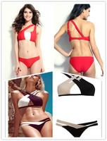 Sexy Hollow Patchwork Bikinis Set New 2014 Brand Swimwear Women Push Up Triangl Swimsuit Pad Bikini Vintage Bandage Bathing Suit