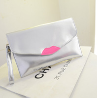 2014 New fashion Women mini clutch Handbag Retro Lips pattern Envelope Evening shoulder party messenger Bag soft pu leather