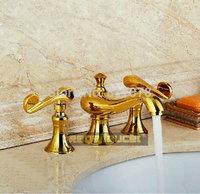 Split basin faucet hot and cold bath taps gilded copper bathtub faucet three-pieces deck mounted se269