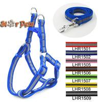 Reflective Nylon Dog Pet Harness & Walking Leash Set Variety of Colors