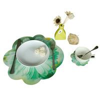 Novelty  Table Mat  Households Placemat  Flower Pattern Cup Mat  8pcs Sets Pad size 4L+4S sets B19009