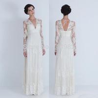 WDB006  Lace  Long Sleeve Casual Beach Wedding Dresses 2014