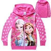 Frozen Children Hoody moleton infantil Girls cardigan jacket children hoodies for 2-8ages Frozen Hoodies Zipper Coat Elsa