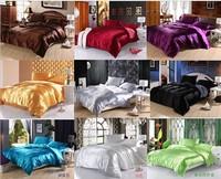 hot sale classic imitate silk feel satin plain solid coffee black golden bedding set duvet cover set bedclothes bed sheet set