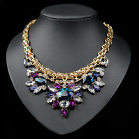 New luxury fashion statement necklaces for women 2014 imitation gemstone jewelry cz diamond tassel collar necklaces pendants