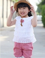 2014 New Summer Lace Kid Girl Clothing Set T Shirt And Lattice shorts Pants girls clothing sets 2 Colors(8)