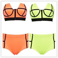 New 2014 High waist Neoprene Bikini Fashion Brand Swimwear Women Sexy Push Up Bikinis Set Vintage Zipper Swimsuit Free Shipping