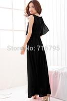 2014 Summer  Women Elegant Sleeveless Maxi Dress With Chiffon Overlay Chiffon Dresses  Beach O-Neck Long Dress   free shipping