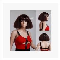 Dark brown corn hot fluffy wig wig BOB volume Rebecca Qi Liuhai small volume T Ou Meifa