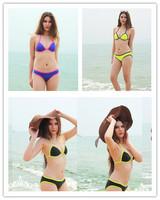 Sexy Push Up Neoprene Bikinis Set New 2014 Fashion Brand Swimsuit Vintage Patchwork Bikini Triangle Swimwear Women Free Shipping