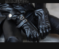 Super Cool Black Leather Gloves Double Button  For 1/3 BJD Doll Accessories