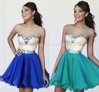 Romantic A-line Mini Dress Homecoming Girls Sexy Royal Blue Plus Size Black Short Prom Dresses 2014 Crystals