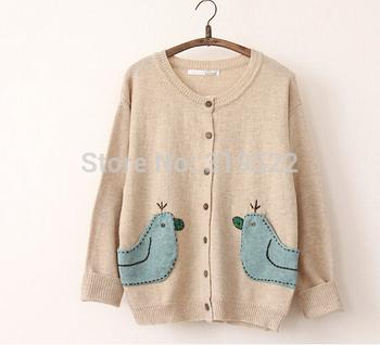 Design birds Карманы cartoon кардиган vintage mori autumn winter свитер
